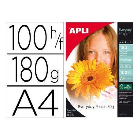 Papel Foto APLI A4 180g 100 hojas